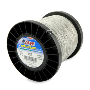 Surfstrand, Bare 1x7 Stainless Steel Leader Wire, 150 lb (68 kg) test, .027 in (0.69 mm) dia, Bright, 5,000 ft (1,524 m)
