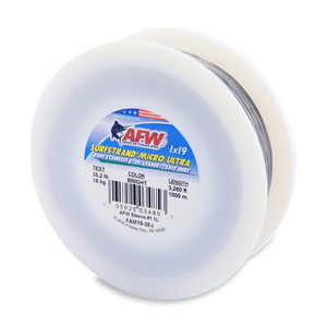 Surfstrand Micro Ultra, Bare 1x19 Stainless Steel Leader Wire, 35 lb (16 kg) test, .014 in (0.36 mm) dia, Bright, 3,280 ft (1,000 m)