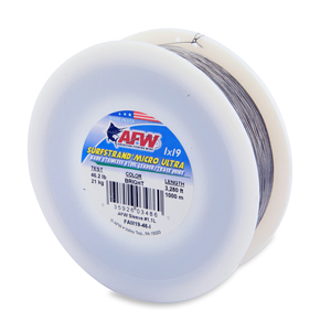 Surfstrand Micro Ultra, Bare 1x19 Stainless Steel Leader Wire, 46 lb (21 kg) test, .016 in (0.41 mm) dia, Bright, 3,280 ft (1,000 m)
