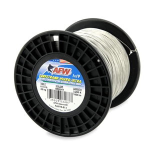Surfstrand Micro Ultra, Bare 1x19 Stainless Steel Leader Wire, 61 lb (28 kg) test, .020 in (0.51 mm) dia, Bright, 3,280 ft (1,000 m)