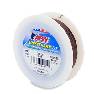 Surfstrand, Bare 1x7 Stainless Steel Leader Wire, 20 lb (9 kg) test, .011 in (0.28 mm) dia, Camo, 5,000 ft (1,524 m)