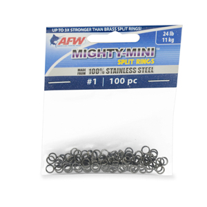 Mighty Mini Stainless Steel Split Ring, Size #1, 24 lb (11 kg) test, Gunmetal Black, 100 pc