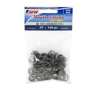 Mighty Mini Stainless Steel Split Ring, Size #7, 198 lb (90 kg) test, Gunmetal Black, 100 pc