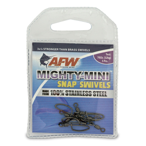 Mighty Mini Stainless Steel Snap Swivels, Size #6, 70 lb (32 kg) test, Gunmetal Black, 5 pc