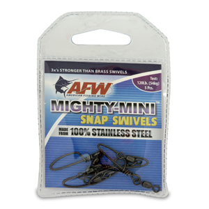 Mighty Mini Stainless Steel Snap Swivels, Size #5, 120 lb (54 kg) test, Gunmetal Black, 5 pc