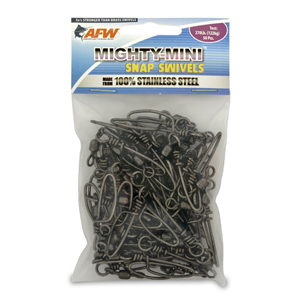 Mighty Mini Stainless Steel Snap Swivels, Size #2, 270 lb (122 kg) test, Gunmetal Black, 50 pc