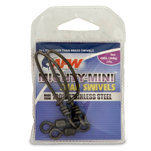 Mighty Mini Stainless Steel Snap Swivels, Size #2/0, 450 lb (204 kg) test, Gunmetal Black, 2 pc