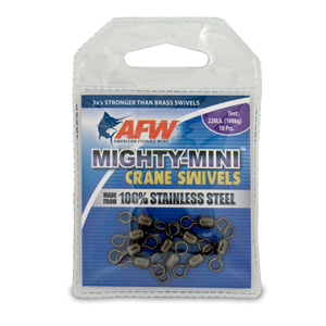 Mighty Mini Stainless Steel Crane Swivels, Size #5, 220 lb (100 kg) test, Gunmetal Black, 10 pc