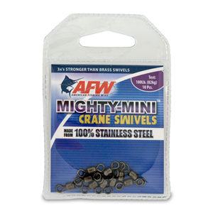 Mighty Mini Stainless Steel Crane Swivels, Size #7, 180 lb (82 kg) test, Gunmetal Black, 10 pc