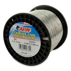 Stainless Steel Trolling Wire, T304, 12 lb (6 kg) test, .012 in (0.30 mm) dia, Bright, 13060 ft (3980 m)