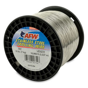 Stainless Steel Trolling Wire, T304, 15 lb (7 kg) test, .013 in (0.33 mm) dia, Bright, 10950 ft (3337 m)