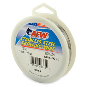 Stainless Steel Trolling Wire, T304, 15 lb (7 kg) test, .013 in (0.33 mm) dia, Bright, 300 ft (91.5 m)