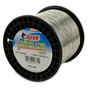 Stainless Steel Trolling Wire, T304, 20 lb (9 kg) test, .016 in (0.41 mm) dia, Bright, 7250 ft (2209 m)