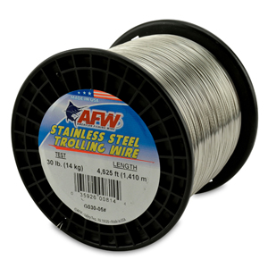 Stainless Steel Trolling Wire, T304, 30 lb (14 kg) test, .020 in (0.51 mm) dia, Bright, 4625 ft (1409 m)