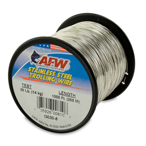 Stainless Steel Trolling Wire, T304, 30 lb (14 kg) test, .020 in (0.51 mm) dia, Bright, 1000 ft (305 m)
