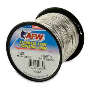 Stainless Steel Trolling Wire, T304, 40 lb (18 kg) test, .022 in (0.56 mm) dia, Bright, 1000 ft (305 m)