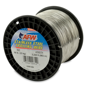 Stainless Steel Trolling Wire, T304, 50 lb (23 kg) test, .024 in (0.61 mm) dia, Bright, 3225 ft (982 m)
