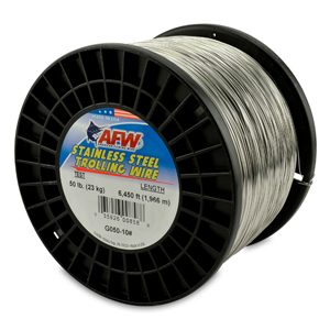 Stainless Steel Trolling Wire, T304, 50 lb (23 kg) test, .024 in (0.61 mm) dia, Bright, 6450 ft (1965 m)
