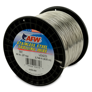 Stainless Steel Trolling Wire, T304, 60 lb (27 kg) test, .026 in (0.66 mm) dia, Bright, 2740 ft (835 m)
