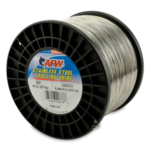 Stainless Steel Trolling Wire, T304, 60 lb (27 kg) test, .026 in (0.66 mm) dia, Bright, 5480 ft (1670 m)