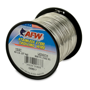 Stainless Steel Trolling Wire, T304, 60 lb (27 kg) test, .026 in (0.66 mm) dia, Bright, 600 ft (182 m)
