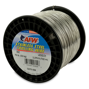 Stainless Steel Trolling Wire, T304, 70 lb (32 kg) test, .028 in (0.71 mm) dia, Bright, 2370 ft (722 m)