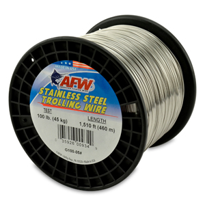 Stainless Steel Trolling Wire, T304, 100 lb (45 kg) test, .035 in (0.89 mm) dia, Bright, 1510 ft (460 m)