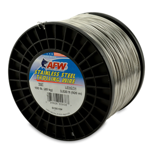 Stainless Steel Trolling Wire, T304, 100 lb (45 kg) test, .035 in (0.89 mm) dia, Bright, 3020 ft (920 m)