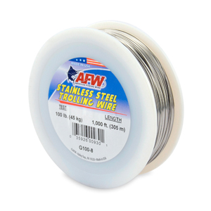 Stainless Steel Trolling Wire, T304, 100 lb (45 kg) test, .035 in (0.89 mm) dia, Bright, 1000 ft (305 m)