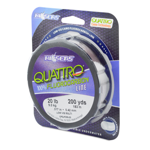 Quattro 100% Fluorocarbon Line, 20 lb (9.0 kg) test, .017 in (0.42 mm) dia, 4-Color Camo, 200 yd (182 m)