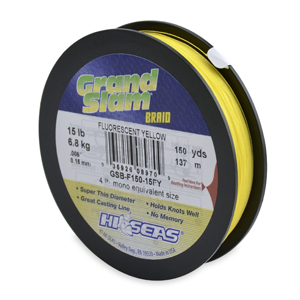 Grand Slam Braid, 15 lb (6.8 kg) test, .006 in (0.15 mm) dia, Fluorescent Yellow, 150 yd (137 m)