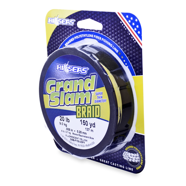 Grand Slam Braid, 20 lb (9.1 kg) test, .008 in (0.20 mm) dia, Fluorescent Yellow, 150 yd (137 m)