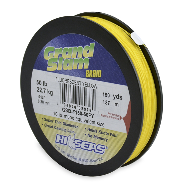 Grand Slam Braid, 50 lb (22.6 kg) test, .012 in (0.30 mm) dia, Fluorescent Yellow, 150 yd (137 m)