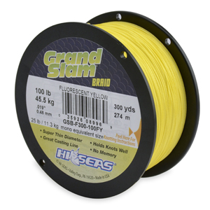 Grand Slam Braid, 100 lb 45.5 kg) test, .019 in (0.48 mm) dia, Fluorescent Yellow, 300 yd (274 m)