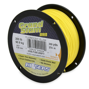 Grand Slam Braid, 200 lb (90.9 kg) test, .023 in (0.58 mm) dia, Fluorescent Yellow, 300 yd (274 m)