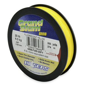 Grand Slam Braid, 20 lb (9.1 kg) test, .008 in (0.20 mm) dia, Fluorescent Yellow, 300 yd (274 m)