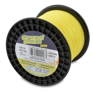 Grand Slam Braid, 100 lb (45.5 kg) test, .019 in (0.48 mm) dia, Fluorescent Yellow, 1200 yd (1097 m)