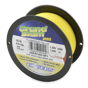 Grand Slam Braid, 10 lb (4.5 kg) test, .004 in (0.10 mm) dia, Fluorescent Yellow, 1200 yd (1097 m)