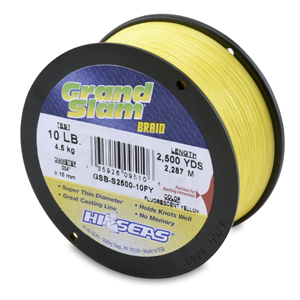 Grand Slam Braid, 10 lb (4.5 kg) test, .004 in (0.10 mm) dia, Fluorescent Yellow, 2500 yd (2286 m)