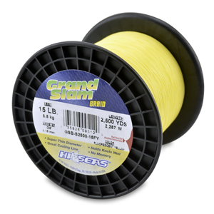 Grand Slam Braid, 15 lb (6.8 kg) test, .006 in (0.15 mm) dia, Fluorescent Yellow, 2500 yd (2286 m)