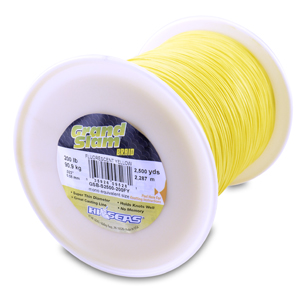 Grand Slam Braid, 200 lb (90.9 kg) test, .023 in (0.58 mm) dia, Fluorescent Yellow, 2500 yd (2286 m)