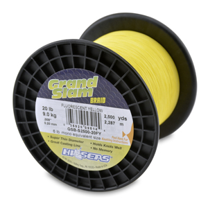 Grand Slam Braid, 20 lb (9.1 kg) test, .008 in (0.20 mm) dia, Fluorescent Yellow, 2500 yd (2286 m)