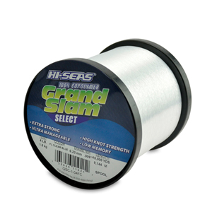 Grand Slam Select Monofilament Line, 4 lb (1.8 kg) test, .009 in (0.23 mm) dia, Fluorescent Clear Blue, 10000 yd (9144 m)