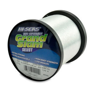 Grand Slam Select Monofilament Line, 6 lb (2.7 kg) test, .010 in (0.26 mm) dia, Fluorescent Clear Blue, 8000 yd (7315 m)