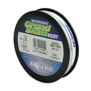 Grand Slam Select, 4 lb (1.8 kg) test, .009 in (0.23 mm) dia, Fluorescent Clear Blue, 300 yd (274 m)