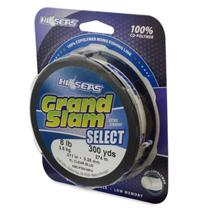 Grand Slam Select, 8 lb (3.6 kg) test, .011 in (0.28 mm) dia, Fluorescent Clear Blue, 300 yd (274 m)