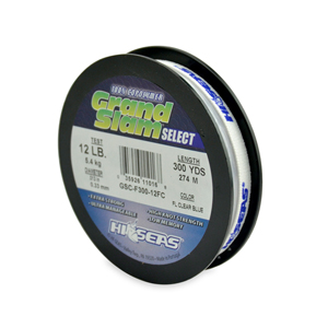 Grand Slam Select, 12 lb (5.4 kg) test, .013 in (0.33 mm) dia, Fluorescent Clear Blue, 300 yd (274 m)