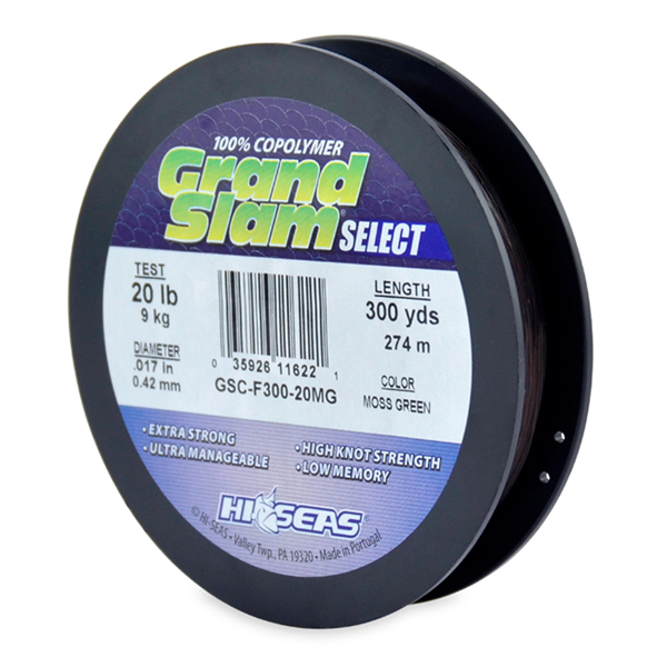 Grand Slam Select, 20 lb (9.0 kg) test, .017 in (0.42 mm) dia, Moss Green, 300 yd (274 m)