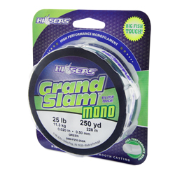 Grand Slam Mono Line, 25 lb (11.3 kg) test, .020 in (0.50 mm) dia, Green, 250 yd (228 m)