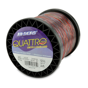 Quattro Mono Line, 130 lb (58.9 kg) test, .047 in (1.20 mm) dia, 4-Color Camo, 700 yd (640 m)